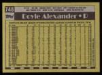 1990 Topps #748  Doyle Alexander  Back Thumbnail