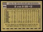 1990 Topps #233  Ken Hill  Back Thumbnail