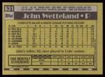 1990 Topps #631  John Wetteland  Back Thumbnail