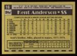 1990 Topps #16  Kent Anderson  Back Thumbnail