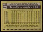 1990 Topps #409  Tom Brunansky  Back Thumbnail