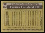 1990 Topps #316  Carney Lansford  Back Thumbnail