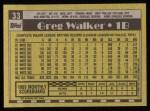 1990 Topps #33  Greg Walker  Back Thumbnail