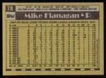 1990 Topps #78  Mike Flanagan  Back Thumbnail