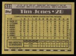1990 Topps #533  Tim Jones  Back Thumbnail
