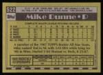1990 Topps #522  Mike Dunne  Back Thumbnail