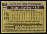 1990 Topps #102  Stan Javier  Back Thumbnail