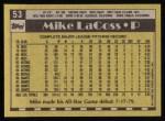 1990 Topps #53  Mike LaCoss  Back Thumbnail