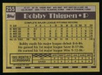 1990 Topps #255  Bobby Thigpen  Back Thumbnail