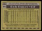 1990 Topps #619  Rob Ducey  Back Thumbnail