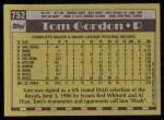 1990 Topps #752  Tom Gordon  Back Thumbnail