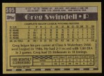 1990 Topps #595  Greg Swindell  Back Thumbnail