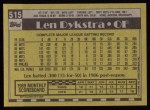 1990 Topps #515  Len Dykstra  Back Thumbnail