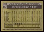 1990 Topps #238  Felix Jose  Back Thumbnail