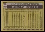 1990 Topps #323  Willie Wilson  Back Thumbnail