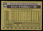 1990 Topps #702  Tony Phillips  Back Thumbnail