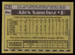1990 Topps #563  Alex Sanchez  Back Thumbnail