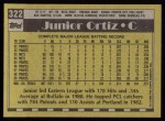 1990 Topps #322  Junior Ortiz  Back Thumbnail