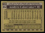 1990 Topps #720  Andres Galarraga  Back Thumbnail