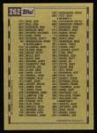 1990 Topps #262   Checklist 2 Back Thumbnail