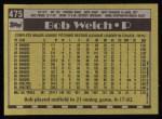 1990 Topps #475  Bob Welch  Back Thumbnail