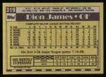 1990 Topps #319  Dion James  Back Thumbnail