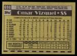 1990 Topps #698  Omar Vizquel  Back Thumbnail