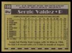 1990 Topps #199  Sergio Valdez  Back Thumbnail