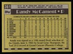 1990 Topps #361  Randy McCament  Back Thumbnail