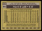 1990 Topps #436  Mel Hall  Back Thumbnail