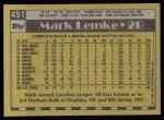 1990 Topps #451  Mark Lemke  Back Thumbnail