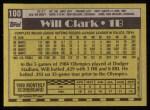 1990 Topps #100  Will Clark  Back Thumbnail