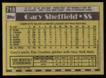 1990 Topps #718  Gary Sheffield  Back Thumbnail