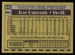 1990 Topps #645  Jose Oquendo  Back Thumbnail