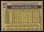 1990 Topps #740  Jesse Barfield  Back Thumbnail