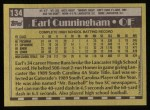 1990 Topps #134   -  Earl Cunningham #1 Draft Pick Back Thumbnail