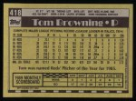 1990 Topps #418  Tom Browning  Back Thumbnail