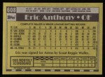 1990 Topps #608  Eric Anthony  Back Thumbnail