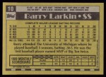 1990 Topps #10  Barry Larkin  Back Thumbnail