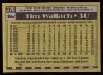 1990 Topps #370  Tim Wallach  Back Thumbnail