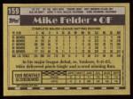1990 Topps #159  Mike Felder  Back Thumbnail
