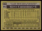 1990 Topps #374  Steve Cummings  Back Thumbnail
