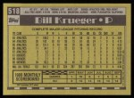 1990 Topps #518  Bill Krueger  Back Thumbnail