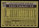 1990 Topps #700  Kirby Puckett  Back Thumbnail