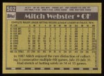 1990 Topps #502  Mitch Webster  Back Thumbnail