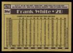 1990 Topps #479  Frank White  Back Thumbnail