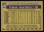 1990 Topps #148  Edgar Martinez  Back Thumbnail