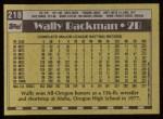 1990 Topps #218  Wally Backman  Back Thumbnail