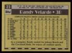 1990 Topps #23  Randy Velarde  Back Thumbnail
