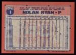 1991 Topps #1  Nolan Ryan  Back Thumbnail